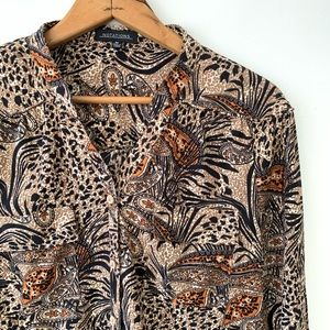 Vintage Notations brown jungle paisley button down